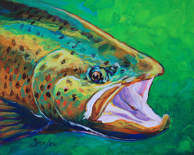Spring Time Brown Trout- Fly Fishing Art Poster by Savlen Art