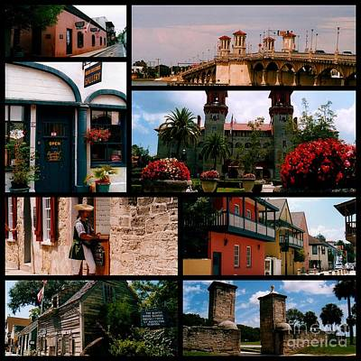 St Augustine In Florida - 1 Collage Poster by Susanne Van Hulst