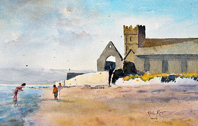 St Augustines Abbey  Strand Paddlers Abbeyside Dungarvan County Waterford Ireland Poster by Keith W Thompson