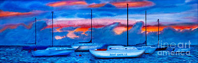 St Croix Sailboats At Sunset Painted In Oil Poster by Iris Richardson