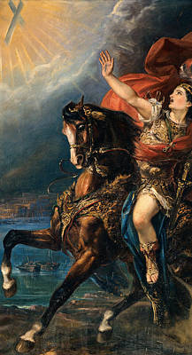 St Ephysius On Horseback Poster by De Belly Tommaso