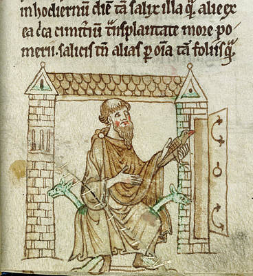 St Kevin Praying With Blackbird Poster by British Library