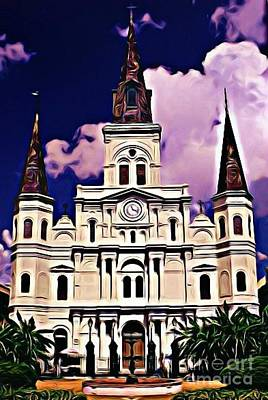 St Louis Cathedral In New Orleans Poster by John Malone