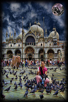 St Mark's Basilica - Feeding The Pigeons Poster by Lee Dos Santos