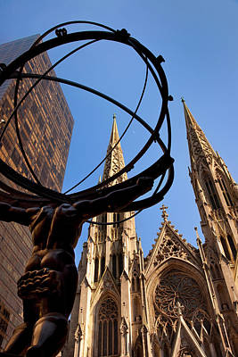 St Patrick's Cathedral With Bronze Poster by Brian Jannsen