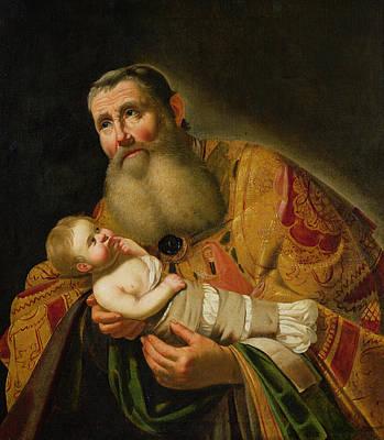 St Simeon Presenting The Infant Christ In The Temple  Poster by Jan van Bijlert or Bylert