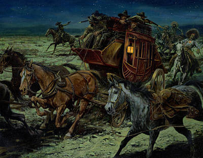 Stagecoach Attack Poster by Don  Langeneckert