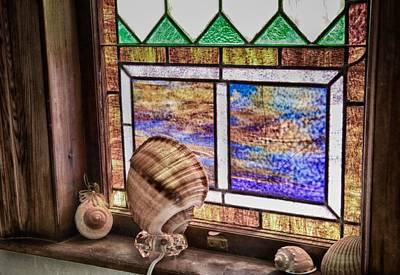 Stained Glass At Linekin Chapel 2 Poster by John Hoey