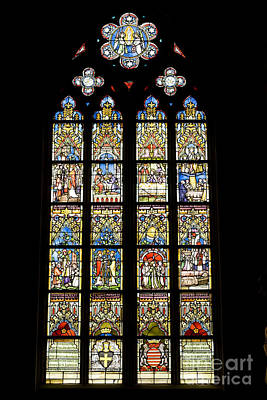 Stained Glass Window In Medieval Catholic Church Poster by Patricia Hofmeester