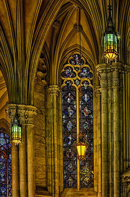 Stained Glass Windows At Saint Patricks Cathedral Poster by Susan Candelario