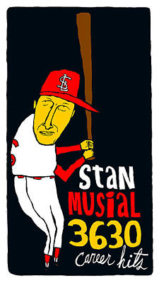 Stan Musial St Louis Cardinals Poster by Jay Perkins