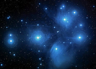Star Cluster Pleiades Seven Sisters Poster by Jennifer Rondinelli Reilly - Fine Art Photography