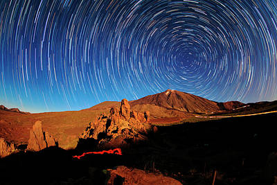 Star Trails Over Mount Teide Poster by Babak Tafreshi