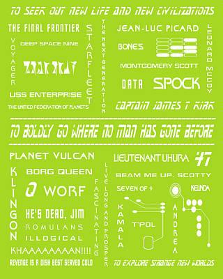 Star Trek Remembered In Green Poster by Georgia Fowler