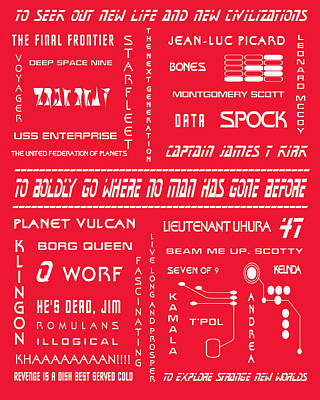 Star Trek Remembered In Red Poster by Georgia Fowler