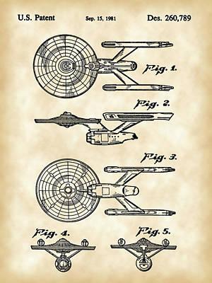 Star Trek Uss Enterprise Toy Patent 1981 - Vintage Poster by Stephen Younts