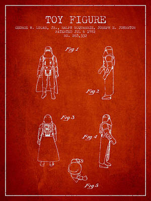Star Wars Darth Vader Patent From 1982 - Red Poster by Aged Pixel