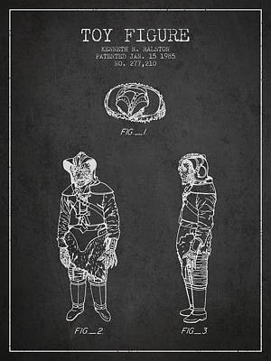 Star Wars Toy Figure No3 Patent Drawing From 1985 - Charcoal Poster by Aged Pixel