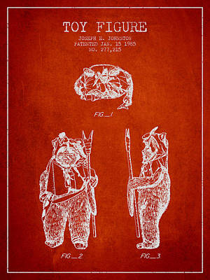 Star Wars Toy Figure No4 Patent Drawing From 1985 - Red Poster by Aged Pixel
