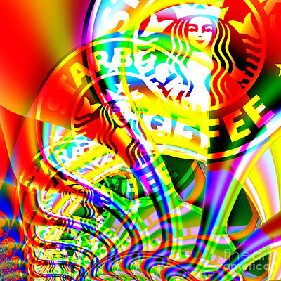 Starbucks Coffee In Abstract 20140704 Square V2 Poster by Wingsdomain Art and Photography