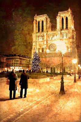 Stardust Over Notre Dame De Paris Cathedral Poster by Mark E Tisdale