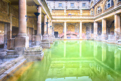 Staring Into Antiquity At The Roman Baths - Bath England Poster by Mark E Tisdale
