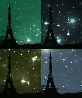 Starry Night - Eiifel Tower Paris Poster by Marianna Mills