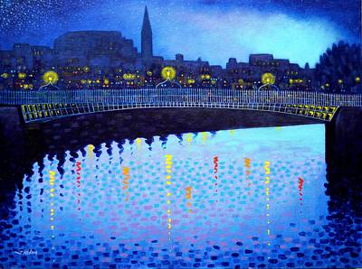 Starry Night In Dublin Vi Poster by John  Nolan