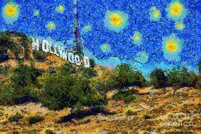 Starry Nights In The Hollywood Hills 5d28482 20141005 Poster by Wingsdomain Art and Photography