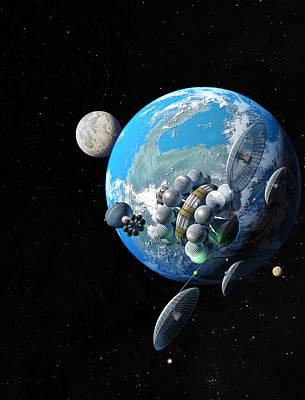 Starship At Alpha Centauri Poster by Don Dixon