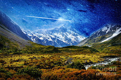 Stary Night Over Highlands Poster by Celestial Images