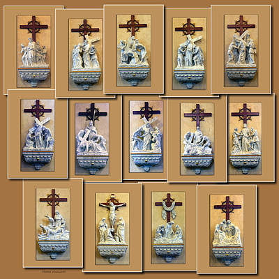 Stations Of The Cross Collage Poster by Thomas Woolworth