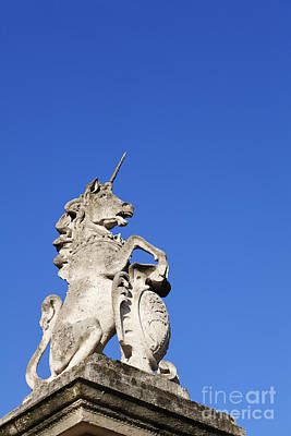 Statue Of A Unicorn On The Walls Of Buckingham Palace In London England Poster by Robert Preston