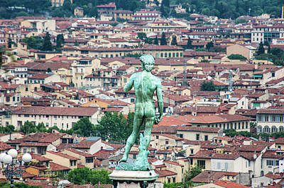 Statue Of David Overlooking Florence Poster by Sheila Haddad