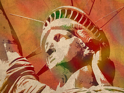 Statue Of Liberty Watercolor Portrait No 1 Poster by Design Turnpike