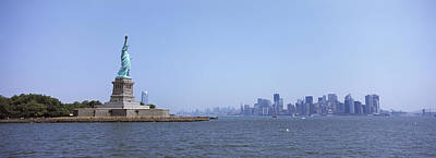 Statue Of Liberty With Manhattan Poster by Panoramic Images