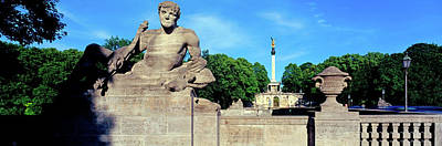 Statue On Luitpold Bridge And Angel Poster by Panoramic Images