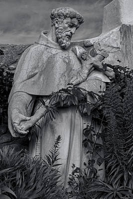 Stature Of Father Junepero Serra  In Black And White Poster by Garry Gay