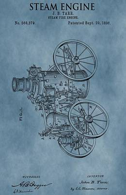 Steam Engine Patent Blue Poster by Dan Sproul