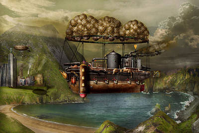 Steampunk - Airship - The Original Noah's Ark Poster by Mike Savad