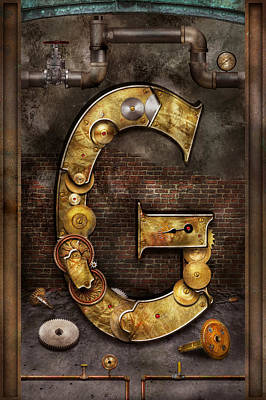 Steampunk - Alphabet - G Is For Gears Poster by Mike Savad