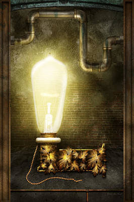 Steampunk - Alphabet - L Is For Light Bulb Poster by Mike Savad