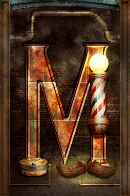 Steampunk - Alphabet - M Is For Mustache Poster by Mike Savad