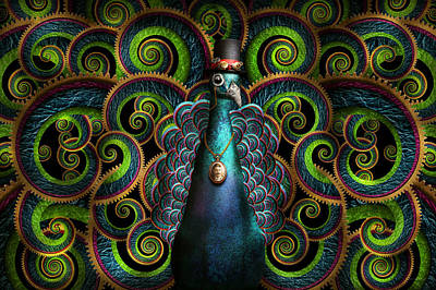 Steampunk - Pretty As A Peacock Poster by Mike Savad