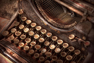 Steampunk - Typewriter - Too Tuckered To Type Poster by Mike Savad