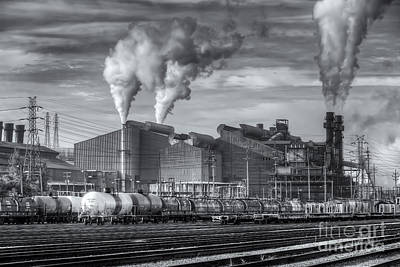 Steel Mill And Freight Yard II Poster by Clarence Holmes