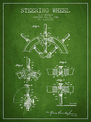 Steering Wheel Patent Drawing From 1944  - Green Poster by Aged Pixel