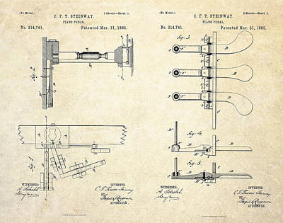 1885 Steinway Piano Pedal Patent Art Poster by Gary Bodnar