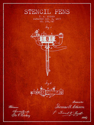Stencil Pen Patent From 1877 - Red Poster by Aged Pixel