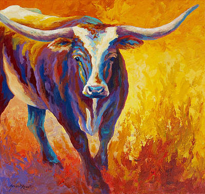 Stepping Out - Longhorn Poster by Marion Rose